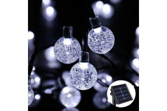 (White) - Qedertek LED Solar String Lights, Outdoor Christmas Fairy Lights 30 Crystal Ball, 8 Modes, Waterproof, Solar Powered Lights Decorative for Xmas, Home, Patio, Party, Festival, Gazebo (White)