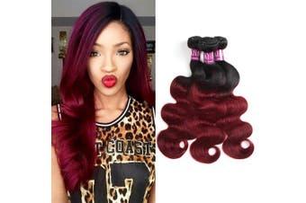(12 12 12) - Alisfeel Ombre Brazilian Body Wave Unprocessed Virgin Human Hair Bundles Weave Ombre Body Wave 1B/99J Burgundy 1 Bundle 30cm (30cm )