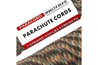 (Bionic Camo, 31 Metre) - Brotree 550 Paracord 7 Strand Nylon Parachute Cord Outdoor Survival Rope - 250kg Breaking Strength (Standard, Reflective)