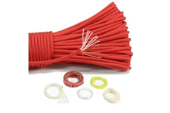 (Red) - PSKOOK 550 Paracord Fire Cord Parachute Cord 100% Nylon 7 Strands Survival Cord Red Fire Tinder Fishing Line Cotton Thread Outdoor MIL-C-5040 Type III 30m