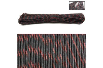 (Black Red) - PSKOOK 550 Paracord Fire Cord Parachute Cord 100% Nylon 7 Strands Survival Cord Red Fire Tinder Fishing Line Cotton Thread Outdoor MIL-C-5040 Type III 30m