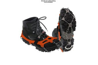 (orange, S) - ALPIDEX Shoe Spikes Snow Chains for Shoes Crampons 21 Teeth Stainless Steel Spikes