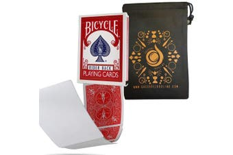 (Red) - Blank Face Bicycle Cards - Gaff Rider Back Bicycle Deck - Includes Cascade Card Bag (Red)
