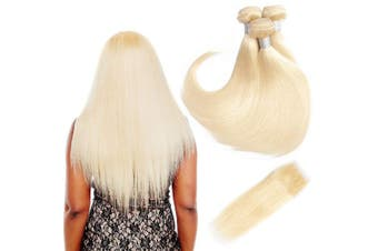 (18 20 22+41cm , 613) - 613 Blonde Bundles With Closure 613 Platinum Blonde Human Hair 3 Bundles With Transparent Colour Lace Closure 4x 4 Brazlian Straight Remy Hair Extension Can Be Dyed (182022+41cm , bundles with closure)