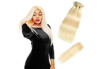 (22 24 26+50cm , 613) - 613 Blonde Bundles With Closure 613 Platinum Blonde Human Hair 3 Bundles With Transparent Colour Lace Closure 4x 4 Brazlian Straight Remy Hair Extension Can Be Dyed (222426+50cm , bundles with closure)
