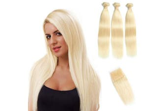 (12 12 12+25cm , 613) - 613 Blonde Bundles With Closure 613 Platinum Blonde Human Hair 3 Bundles With Transparent Colour Lace Closure 4x 4 Brazlian Straight Remy Hair Extension Can Be Dyed (121212+25cm , bundles with closure)