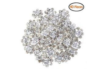(White) - BETITETO U Shaped Flower Rhinestone Hair Pins Crystal Hair Accessories for Bridal Wedding/Party/Teen Sweet Sixteen (White)