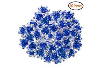 (Blue) - BETITETO U Shaped Flower Rhinestone Hair Pins Crystal Hair Accessories for Bridal Wedding/Party/Teen Sweet Sixteen (Blue)