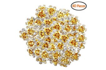 (Yellow) - BETITETO U Shaped Flower Rhinestone Hair Pins Crystal Hair Accessories for Bridal Wedding/Party/Teen Sweet Sixteen (Yellow)