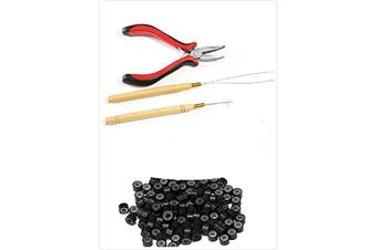 (#1(Black)) - 1 bottle/200pcs Micro Links/Beads+1pcs Pulling Needle+1pc plier Hair Extensions Tool kit (#1(Black))