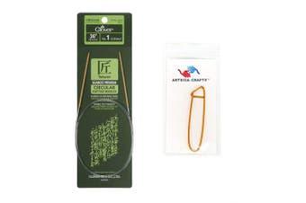 (Size-10/6mm) - Clover Takumi Bamboo Circular Knitting Needles 36 inch Size 10/6mm Bundle with 1 Artsiga Crafts Stitch Holder 3016/36-10