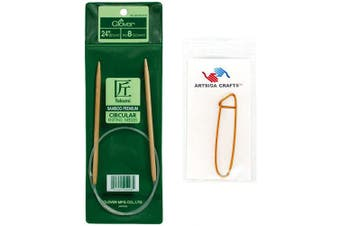 (Size-4/3.5mm) - Clover Takumi Bamboo Circular Knitting Needles 24 inch Size 4/3.5mm Bundle with 1 Artsiga Crafts Stitch Holder 3016/24-04
