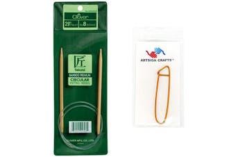 (Size-5/3.75mm) - Clover Takumi Bamboo Circular Knitting Needles 29 inch Size 5/3.75mm Bundle with 1 Artsiga Crafts Stitch Holder 3016/29-05