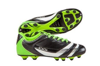 (11.5Y, Black/Lime) - Acacia Thunder Soccer Shoes