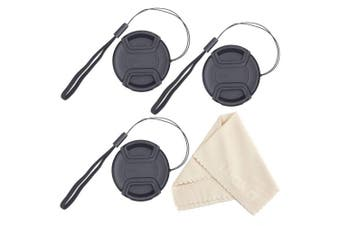 waka 67mm Lens Cap, 3pcs Centre Pinch Front Camera Lens Cover with Cap Keeper Leash for Canon Nikon Sony Camera, Lens Cleaning Cloth included