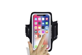 (Up to 5.2 inches) - BRAVESHINE Running Armband For Iphone X / 8/7 / 6S / 6,Samsung Galaxy S7/S6/S8/S9 Huawei P10 Sweatproof Sports Armband Mobile Phones Jogging Walking Hiking Workout and Exercise