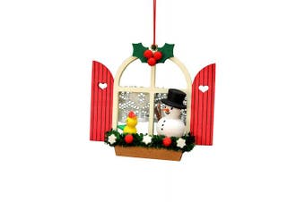 "(Multicolor) - Alexander Taron Importer 10-0571 - Christian Ulbricht Ornament - Window with Snowman - 7cm "" H x 7.6cm "" W x 2.5cm "" D"