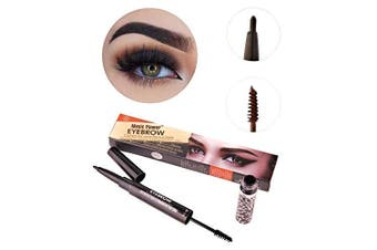 (#02 Light Coffee) - Long Lasting Waterproof Smudge-Proof Eyebrow 2 in 1 Double Sided Brow Sculpting Duo Brow Gel Cream and Retractable Automatic Brow/Eyeliner Pencil 24Hr Tattoo Pen (#02 Light Coffee)
