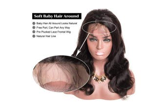 (25cm ) - Brazilian Body Wave 360 Lace Frontal Wigs Human Hair Wig Pre Plucked With Baby Hair 150% Density Lace Front Virgin Remy Hair Wig For Black Women Natural Colour Alot (25cm )