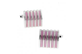Ashton and Finch Unique Pink Lines Cufflinks in Luxury PRESENTATION GIFT BOX - Wedding Pink Fashion Theme Jewellery