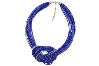 (Royalblue) - BOCAR Seed Beads Multilayer Chunky Bib Statement Knot Necklace