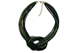 (Deep Green) - BOCAR Seed Beads Multilayer Chunky Bib Statement Knot Necklace