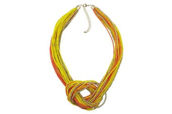 (Yellow+orange) - BOCAR Seed Beads Multilayer Chunky Bib Statement Knot Necklace