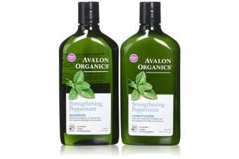 Avalon Organics Strengthening Peppermint Shampoo and Conditioner Set, 330ml Each