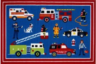 (100cm  x 150cm ) - LA Rug OLK-018 3958 Olive Kids Collection - Heroes Rug - 99.1cm x 147.3cm