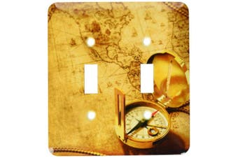 3dRose lsp_53077_2 Compass On A Travellers Map Toggle switch