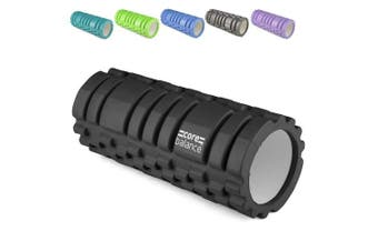 (Black) - Core Balance Trigger Grid Foam Massage Roller, Muscle Target Point System, Gym Fitness Physio Rehab Exercise