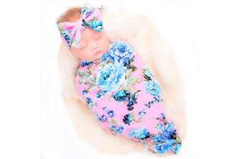 (Pink Rose) - Galabloomer Newborn Receiving Blanket Headband Set Flower Print Baby Swaddle Receiving Blankets