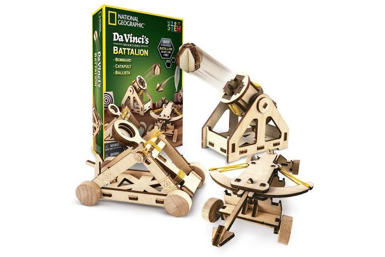 (Da Vinci's Battalion) - NATIONAL GEOGRAPHIC - Da Vinci's DIY Science & Engineering Construction Kit – Build Three Functioning Wooden Models: Catapult, Bombard & Ballista