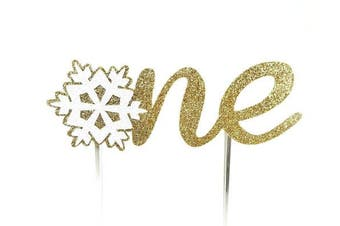 (Gold) - CMS Design Studio Handmade 1st First Birthday Cake Topper Decoration - one with Snowflake - Made in USA with Double Sided Gold Glitter Stock (Gold)