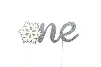 (Silver) - CMS Design Studio Handmade 1st First Birthday Cake Topper Decoration - one with Snowflake - Made in USA with Double Sided Gold Glitter Stock (Silver)