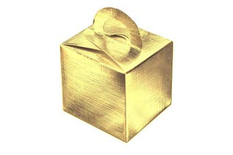 10 Pack of Cute Favour Gift Boxes in Shiney Foil Gold .
