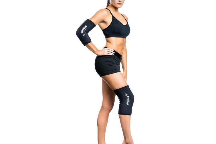 (Medium (10-13 in/26-33 cm), Black) - FreezeSleeve Cold Therapy Compression Sleeve - Natural Pain Relief Sleeve for Muscles & Joints - Sized for Men, Women & Kids - Made in USA - For Arthritis, Injuries & Sports Recovery