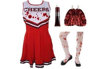 (Medium (7-9 Years) & Tights) - Blue Planet Fancy Dress Childrens Kids Zombie Cheerleader Fancy Dress Costume, Fake Blood & Tights (Medium (7-9 Years) & Tights)