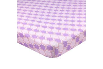 (60cm  x 100cm  (MINI CRIB), Honeycomb Lavender) - Abstract Fitted Crib Sheet for Mini and Portable Cribs - 60cm x 100cm - Ultra Soft, 100% Jersey Knit Cotton - Hypoallergenic Nursery Bedding - Honeycomb Lavender