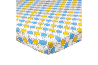 (60cm  x 100cm  (MINI CRIB), Honeycomb Blue) - Abstract Fitted Crib Sheet for Mini and Portable Cribs - 60cm x 100cm - Ultra Soft, 100% Jersey Knit Cotton - Hypoallergenic Nursery Bedding - Honeycomb Blue