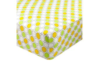(70cm  x 130cm  (STANDARD CRIB), Honeycomb Green) - Abstract Fitted Crib Sheet for Standard and Full Size Cribs and Toddler Beds - 70cm x 130cm - Ultra Soft, 100% Jersey Knit Cotton - Hypoallergenic Nursery Bedding - Honeycomb Green