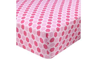 (70cm  x 130cm  (STANDARD CRIB), Honeycomb Pink) - Abstract Fitted Crib Sheet for Standard and Full Size Cribs and Toddler Beds - 70cm x 130cm - Ultra Soft, 100% Jersey Knit Cotton - Hypoallergenic Nursery Bedding - Honeycomb Pink