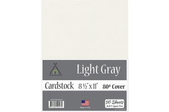 (22cm  x 28cm  - 50 Sheets) - Light Grey Cardstock - 22cm x 28cm - 36kg Cover - 50 Sheets