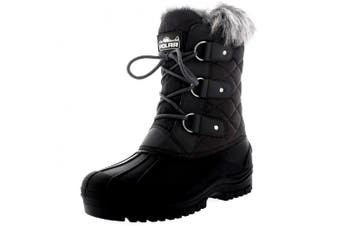 (5 UK, Grey) - Polarr Polar Womens Short Snow Winter Tactical Mountain Waterproof Hiker Mid Calf Walking Boot