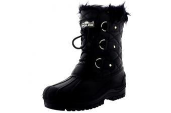 (3 UK, Black Leather) - Polarr Polar Womens Short Snow Winter Tactical Mountain Waterproof Hiker Mid Calf Walking Boot