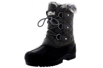 (3 UK, Grey Textile) - Polarr Polar Womens Short Snow Winter Tactical Mountain Waterproof Hiker Mid Calf Walking Boot