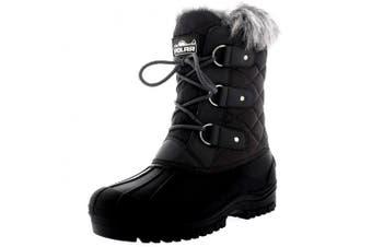 (9 UK, Grey) - Polarr Polar Womens Short Snow Winter Tactical Mountain Waterproof Hiker Mid Calf Walking Boot