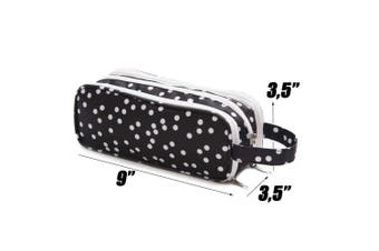 (white dotted) - Versatile Travel Makeup Bag - Large Cosmetic Pouch - Travel Organiser For Your Cosmetics