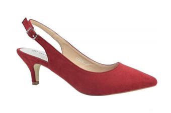 (7 UK, Red) - Greatonu Womens Pointed Toe Slingback Dress Court Shoes