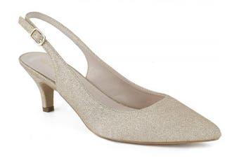 (6 UK, Gold Gliter) - Greatonu Womens Pointed Toe Slingback Dress Court Shoes